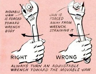 Always turn an adjustable wrench toward the movable jaw